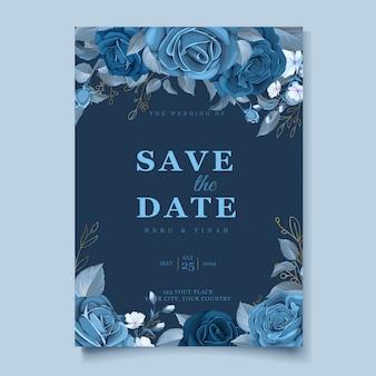 Элегантный шаблон свадебной открытки с голубым цветочным узором и листьями