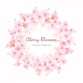 水彩花桜のフレームベクトル