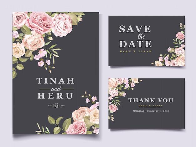 エレガントな花の結婚式のカード