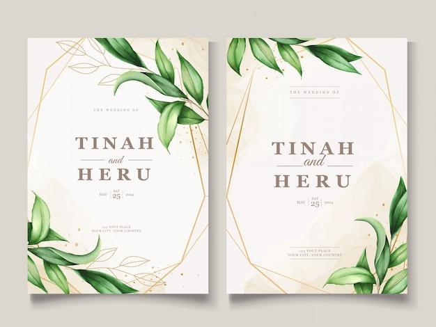 美しい水彩葉結婚式カードテンプレート