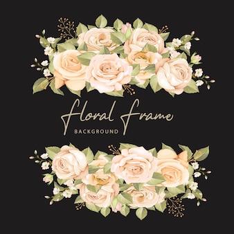 花と葉を持つ美しい結婚式招待状カードのテンプレート