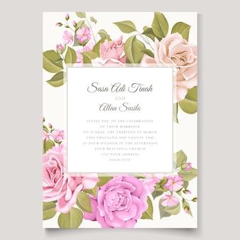 結婚式招待状花と葉カードテンプレート