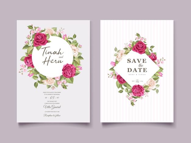 エレガントな花のウェディングカードのデザイン