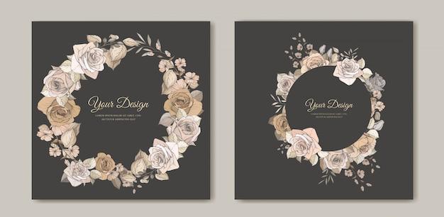 美しい花と葉のテンプレートとエレガントな結婚式の招待カード