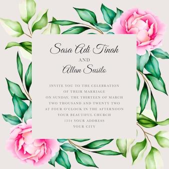 Розовый пион цветущий цветок акварель свадебные открытки шаблон