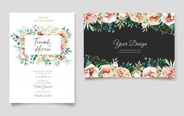 Элегантные пионы свадебные приглашения дизайн шаблона