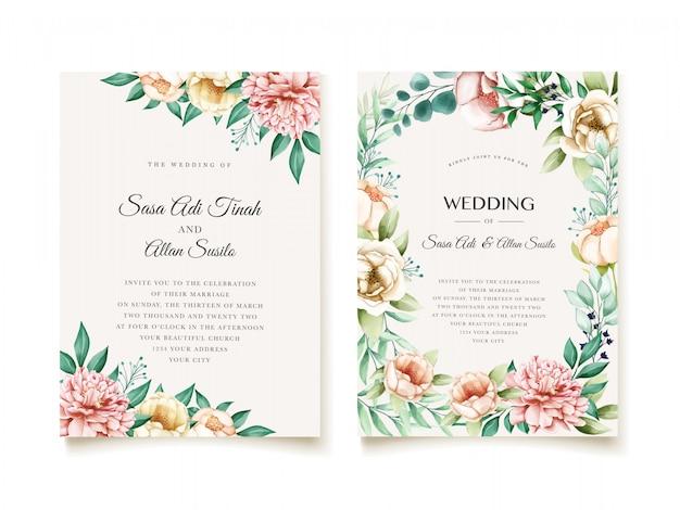 エレガントな牡丹の結婚式の招待状のデザインテンプレート