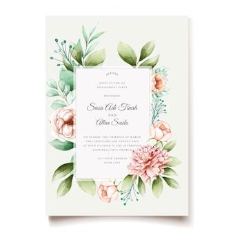 エレガントな牡丹の結婚式の招待状のデザイン