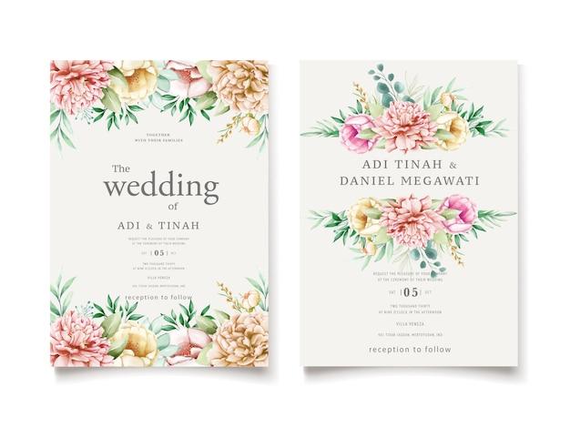 牡丹の花輪を持つ結婚式の招待状のテンプレート