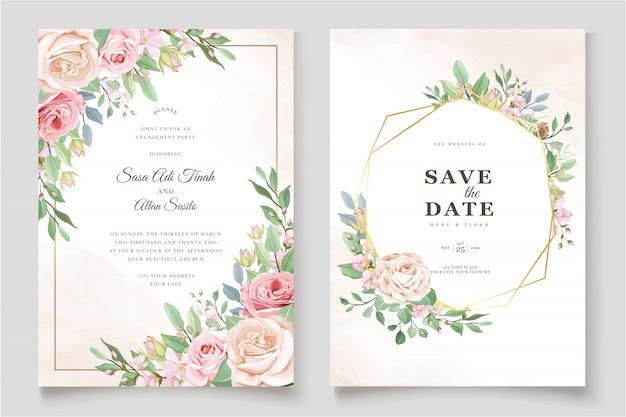 美しいバラの招待カードテンプレート