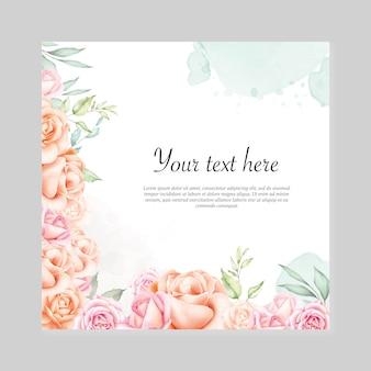 水彩花の背景多目的花のフレーム