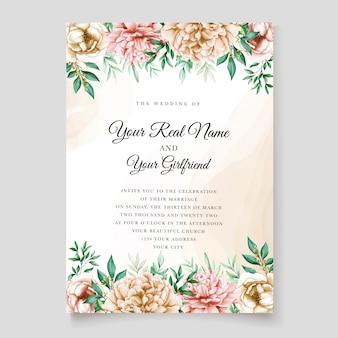 エレガントな牡丹の招待カードテンプレート