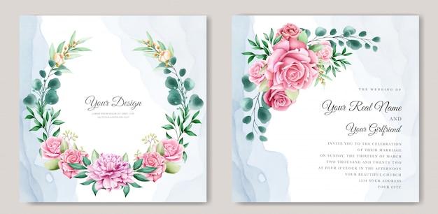 エレガントな水彩結婚式の招待状のテンプレート