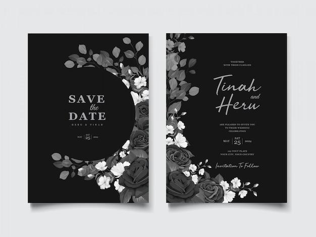黒花の花輪を持つ美しい結婚式の招待カード