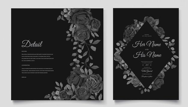 Красивая свадебная пригласительная открытка с черным цветочным венком