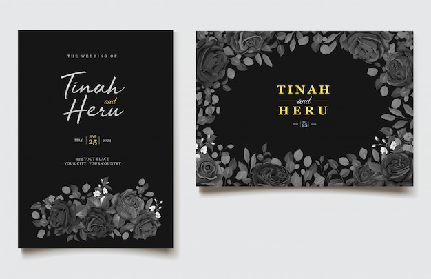黒花の結婚式の招待カードテンプレート
