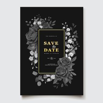 Черный цветочный шаблон приглашения на свадьбу