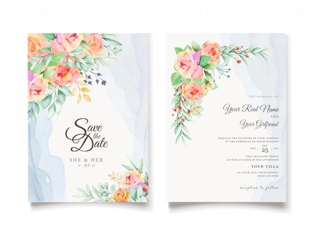 水彩花の結婚式の招待カードデザイン