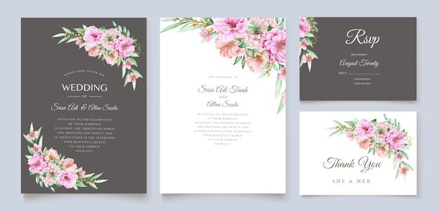 水彩画の花の招待カードデザイン