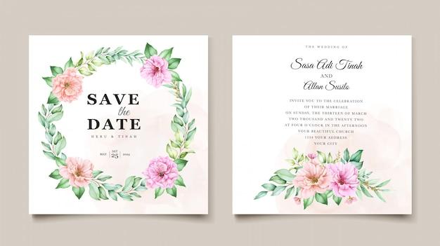 Акварельный цветочный дизайн пригласительного билета