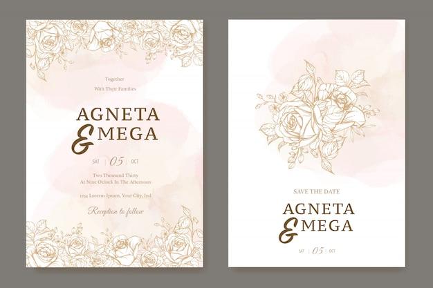 美しいラインアートの結婚式の招待状のテンプレート