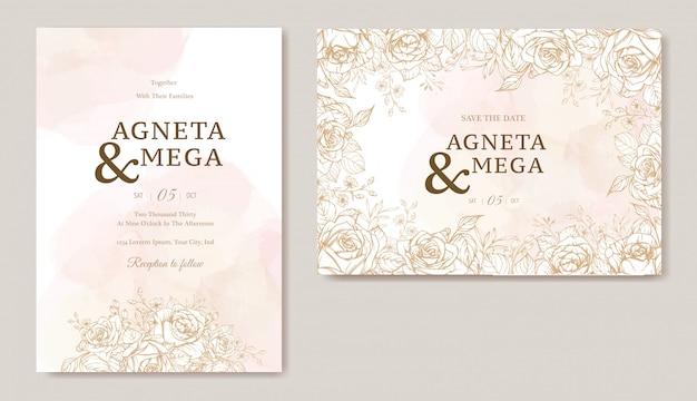 エレガントな花の結婚式の招待カードテンプレート