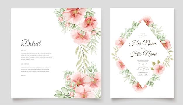 フローラルリースと美しい結婚式の招待カード
