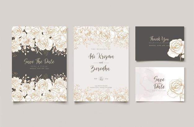 花をモチーフにしたエレガントな結婚式の招待状デザイン