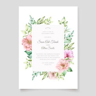桜の花のデザインの結婚式の招待カード