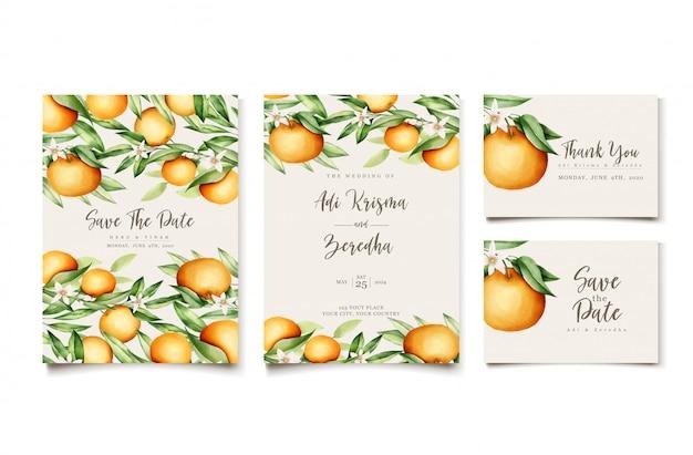 植物の水彩画のオレンジ色の果物の結婚式の招待カードテンプレート