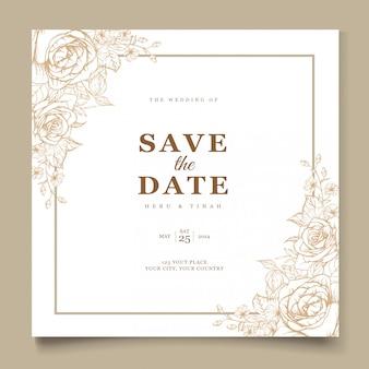 エレガントなラインアートの結婚式の招待カードテンプレート