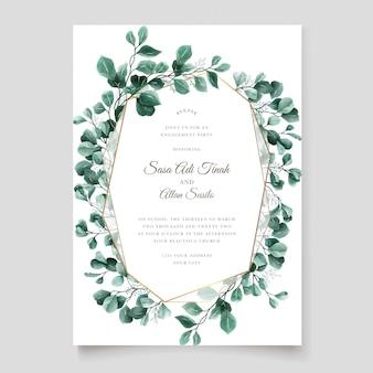 緑のユーカリの結婚式の招待カードテンプレート