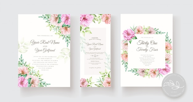 水彩花と葉の招待カードセット