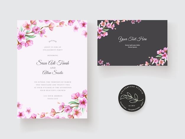 美しい花の装飾デザインの結婚式の招待状