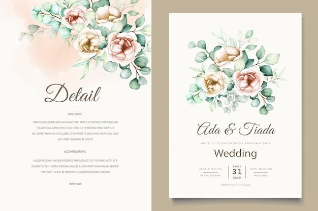 水彩ユーカリの結婚式の招待カードテンプレート