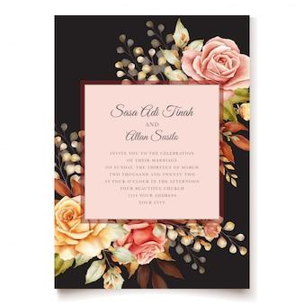 秋の水彩画の花の招待カード