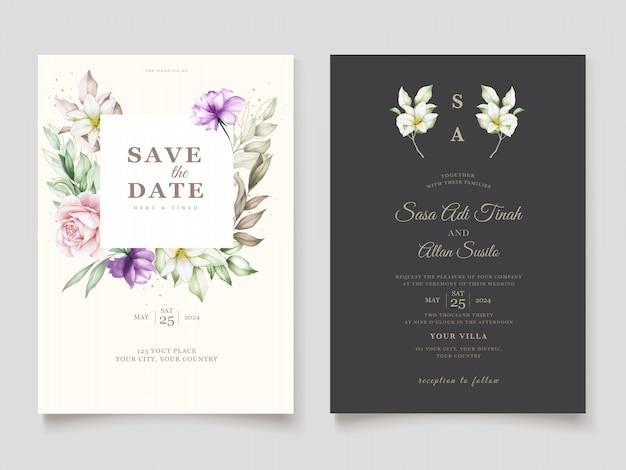 手描きの花の結婚式の招待カードテンプレート