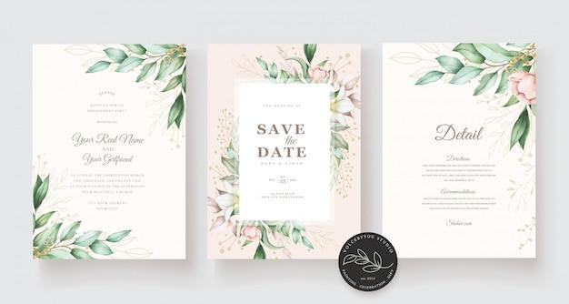 Красивая рука нарисованные свадебные карточки шаблон