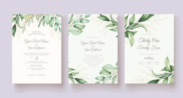 Ручной обращается акварель цветочные свадебные карточки