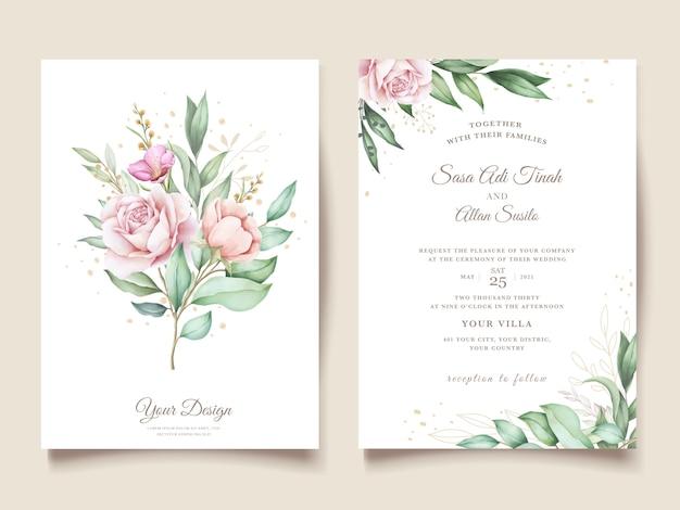 手描きの花と葉の結婚式の招待カード