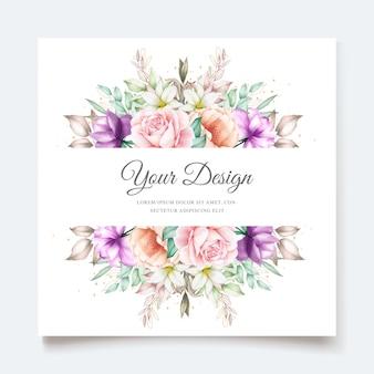 Свадебное приглашение с мягкой зеленой акварелью цветочные