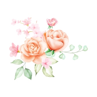 Фон акварель букет роз