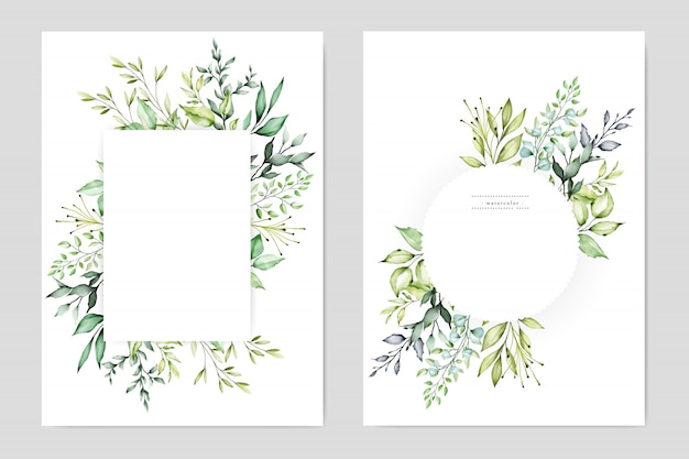 水彩結婚式の花のフレーム多目的背景
