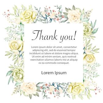 水彩花の結婚式ありがとうカードフレーム