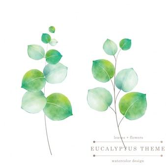 Акварельная зеленая цветочная открытка