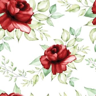 Красивый бесшовный акварельный цветочный узор и листья.