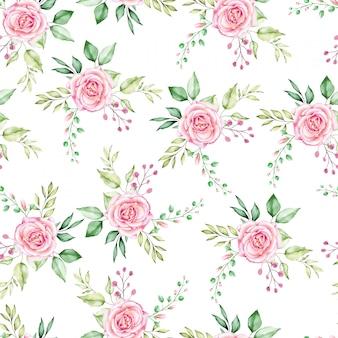 美しいシームレスパターン水彩花柄と葉。