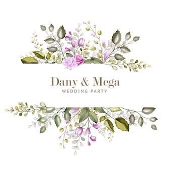 水彩画の花と葉の美しい結婚式のカード