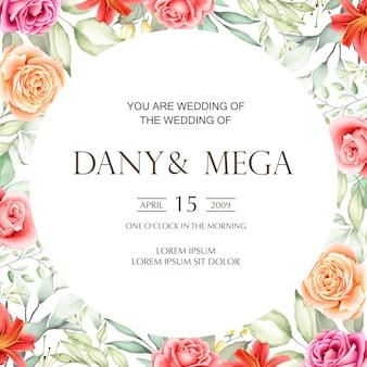 Красивая свадебная открытка с цветочным акварелью и листьями