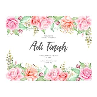 水彩画の花とエレガントな花のフレーム